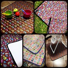 Splat mats - perfect for messy little mucnhkins. Can be used as a mat for under highchairs, a picnic or playmat, a table cover for play dough and other messy craft things - whatever you can possible think of that you would require a waterproof mat for.
