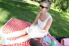 Dress: Samuji, Sunnies: RayBan, Clogs:Moheda Picnic Blanket, Outdoor Blanket, Lily Pulitzer, Sunnies, Dress Up, Clogs, Outfits, Fashion, Clog Sandals