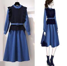 ICHOIX Knitted vest women 2 piece set Korean style long dress office ladies elegant winter dress 2 piece outfits blue dress Source by reyadnigeria outfits women