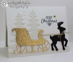 Santa's Sleigh Thinlits, Softly Falling EF, Dazzling Diamonds Glimmer Paper, Gold Foil, Gold Baker's Twine Trio Pack, Swirly Scribbles Thinlits, Hang Your Stocking (sentiment), Metallic Enamel Shapes (exterior)
