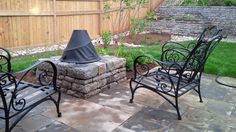 Drystone wall and fire pit feature Aesthetic Look, Dry Stone, Retaining Walls, Concrete Blocks, Construction, Fire, Patio, Landscape, Building