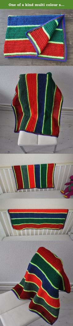 One of a kind multi colour striped blanket, Perfect gift for a newborn or a toddler, ideal for use in pram, Moses basket, crib or a car seat. Ready to ship!. One of a kind hand Crocheted multi colour striped Blanket, Made with Double Knit 100% Acrylic yarn. Perfect gift for a newborn or a toddler, ideal for use in pram, Moses basket, crib or a car seat . It can be used all year round, it is soft and durable. Colour and size: Wine (Red), Olive green, Red, Blue, Green with Neon Yellow…