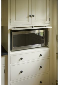 Some great ideas for getting the microwave off the countertop