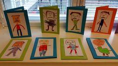 Isänpäiväkortti: Ekaluokkalaiset leimasivat viikset ja kirjaimilla silmät+nenän ja piirsivät ympärille sarjis-isin, jolla on iso pää ja pieni vartalo. Leimatun naaman idea viimevuoden Meilahden ekojen opeilta. (Alkuopettajat FB -sivustosta / Tiia Kekkonen) Special Day, Special Events, Fathers Day Crafts, Mother's Day Diy, School Gifts, Small Gifts, Art Lessons, Kindergarten, Valentines