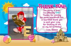 Thank You Card • Beach Theme • Free economy shipping • Fast turnaround time • Great customer service • These thank you cards are custom, high resolution digital files that are personalized for each customer upon order Kids Beach Party, Beach Kids, Birthday Thank You Cards, Printable Thank You Cards, Themes Free, Beach Pictures, Beach Themes, Customer Service, Thankful