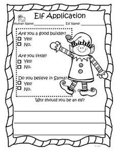 Elf Application - kindergarten writing