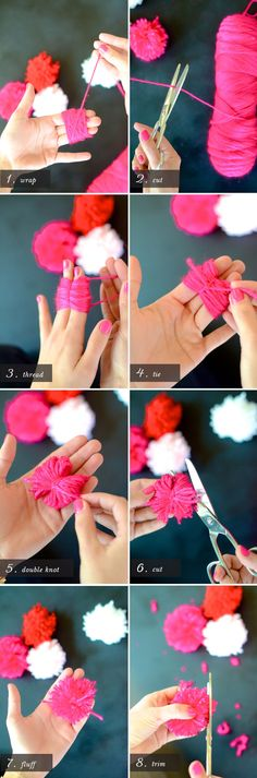 How to Make a Yarn Pom Pom Flower Bouquet | here ya go mom dont need the rings now