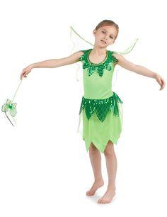 Disfraz de hada verde para niña: Este disfraz verde de hada para niña se compone de un vestido y un par de alas.El vestido es de un tejido verde muy ligero, embellecido con un ribete dorado y lentejuelas a la altura del...