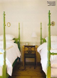 Antique twin beds in pop of color, would love to do this for my girls.