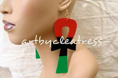 Ankh Earrings in Red Black and Green by ArtbyCleatress on Etsy