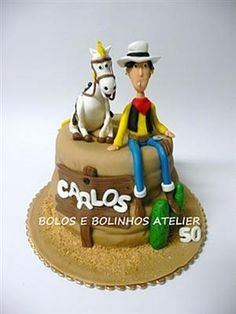 This terrific cowboy cake features Lucky Luke and Jolly Jumper. Dalton Lucky Luke, Amazing Food Creations, Birthday Cake, Birthday Parties, 8th Birthday, Cowboy Cakes, Cowboy Party, Cakes For Men, Cupcakes