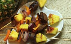 This sweet-spicy combination of pineapple and sausage on skewers will rock your taste buds.