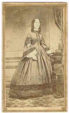 Young Lady Curled Hair Beautiful Dress in New York Area 1860's CDV No Back Stamp | eBay