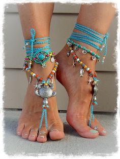 MANDALA Charm ANKLE Bracelet Turquoise Hot Pink NEON por GPyoga