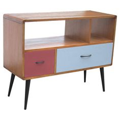 Midcentury-style console with two multicolor drawers and two open shelves.   Product: ConsoleConstruction Material:...