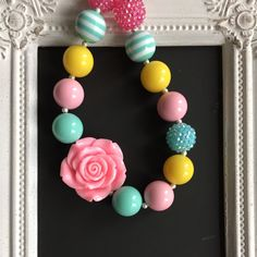 Aqua, pink and yellow bubblegum necklace by LilchicboutiqueLIC on Etsy