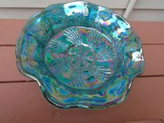 "FENTON TEAL PEACOCK CARNIVAL GLASS FOOTED BOWL  - 9-1/2"" ACROSS"