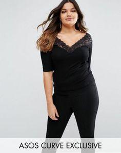ASOS CURVE Top With Bardot Off Shoulder Lace Trim