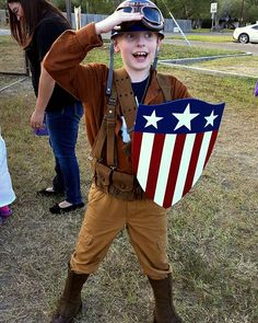 WWII (Bucky Rescue) Captain America!  His Halloween costume came out great. 😊 Happy Boo Day everyone!