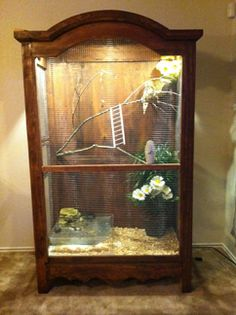 Armoire to aviary. Should we ever a cockatoo, I think this is beautiful Diy Bird Cage, Bird Cage Stand, Bird Cages, Parrot Cages, Bird Aviary, Pet Cage, Budgies, Parrots, Pet Furniture