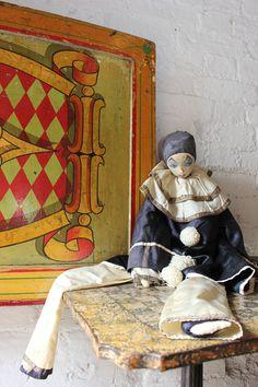Antique Early 20thC Fabric Pierrot/Pierrette Boudoir Doll
