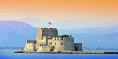 The castle of Bourtzi in the middle of the harbor of Nafplio. It once served as a hotel Greece Cruise, Small Ship Cruises, Classical Greece, Yacht Cruises, Summer Music Festivals, Top Destinations, Sicily, Monument Valley