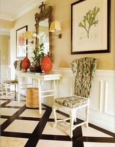 Vintage chairs in modern fabric
