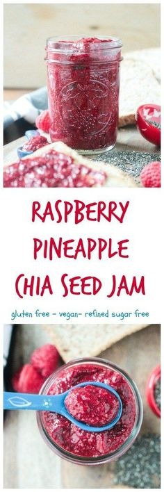 Raspberry Pineapple Chia Seed Jam - vegan | gluten free | oil free | refined sugar free | quick and easy | kid friendly | superfood | homemade | sauce | spread | healthy