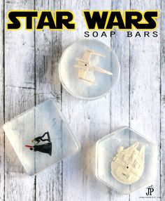 DIY Star Wars soaps - make fun soaps with a PRIZE INSIDE with your kids. These make great gifts and your kids are gonna LOVE washing their hands *wink wink* Star Wars Wedding, Star Wars Party, Diy Projects For Kids, Diy For Kids, Star Wars Crafts, Diy Gifts For Him, Star Wars Kids, Star Wars Tshirt, Soap Recipes