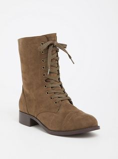 0254f243b595 Wide Olive Faux Suede Combat Boot - Wide Width
