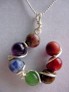 7 chakra colgante - actualización de plata piedras preciosas, equilibrio, Reiki, Spirituial, Chakra Joyería, regalo de día de San Valentín