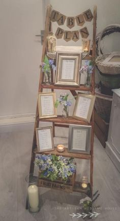 Rustic ladder table plan package for hire from www. Ladder Table Plan, Table Plans, Rustic Ladder, Ladder Decor, Ladder Wedding, Tipi Wedding, Wedding Signs, Home Wedding, Trendy Wedding