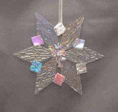 Fused glass ornaments holiday christmas snowflake poinsettia