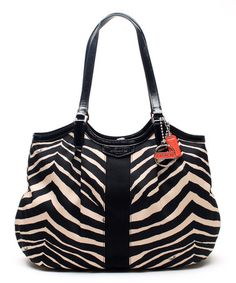 Another great find on #zulily! Black & White Signature Zebra Devin Tote by Coach #zulilyfinds