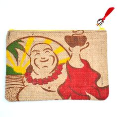 Buddhas Cup recycled Kona coffee bag zipper pouch by SasakiBags, $10.00