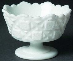 Westmoreland Old Quilt Milk Glass Footed Mayonaise Bowl #Westmoreland