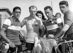 Tour de France 1957 The winner of the first stage André Darrigade midst of the French Jean Forrestier and right Jean Stablinski ,