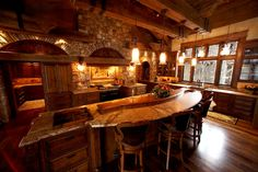 Modern Rustic Homes Cabin Kitchens, Cool Kitchens, Cabin Homes, Log Homes, Modern Rustic Homes, Rustic Kitchen, Stone Kitchen, Homey Kitchen, Kitchen Bars