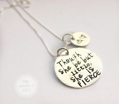 Though she be but little she is fierce Shakespeare quote necklace for mothers