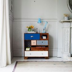 Keep an open mind when it comes to storage. A chest of upcycled drawers in the living room? Why not?