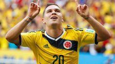 Colombia's Juan Quintero celebrates his goal in the 70th minute at the Estadio Nacional in Brasilia.