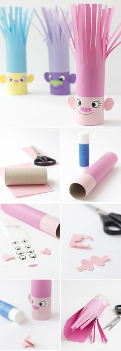 Easy DIY Troll haircut Toilet paper craft Hey there troll lovers. This DIY craft will help you to create your own Trolls from simple toilet paper rolls and colorful paper! Easy Crafts For Kids, Craft Activities For Kids, Easy Diy Crafts, Toddler Crafts, Preschool Crafts, Diy For Kids, Fun Crafts, Simple Crafts, Elderly Activities