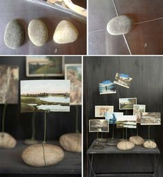 Make picture holders with beach rock! Read on to learn how. I think these wire picture holders totally rock! I rarely come across craft pr. Wire Picture Holders, Photo Holders, Card Holders, Capiz Shell Chandelier, Deco Nature, Beach Rocks, Wire Crafts, Coastal Decor, Diy Paper