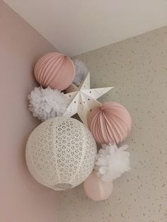 Nice decoration for little girl& room - Louison kit from Sous le Lampion š . Paper Wedding Decorations, Wedding Paper, Baby Bedroom, Kids Bedroom, Little Babies, Little Girls, Hanging Paper Lanterns, Pink Paper, Girl Room