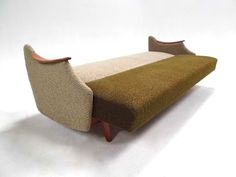 Norwegian Mid Century Green and Grey Wool Four Seater Sofabed in Teak 1960s