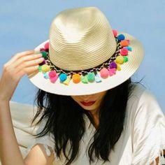 c16372160e3be 43 Best Summer pom pom sun hat for women straw beach hats images ...