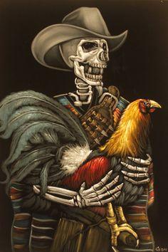 Cock Fighting Oil Painting on Black Vetvet, Gallero Skull w/ Rooster, signed art,  Day of the dead by VelvetPaintings on Etsy