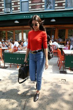 Jeans and a rollneck – classic autumn fodder from Kendall.