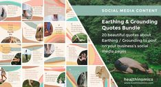 ❤️ SOCIAL MEDIA CONTENT ❤️ 🌍👣Earthing & Grounding Quotes Bundle 🌍👣 Earthing is the practice of having skin contact with the bare earth. Free electrons from the Earth neutralize oxidative stress in the body reducing stress, inflammation, and pain and promoting sleep and muscle recovery. #Earthing #Grounding #Quotes