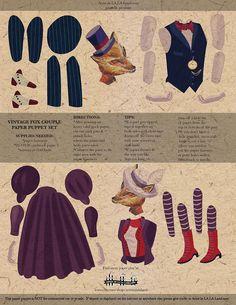 Vintage Fox Couple DIY Printable PDF Paper por ArtistInLALALand